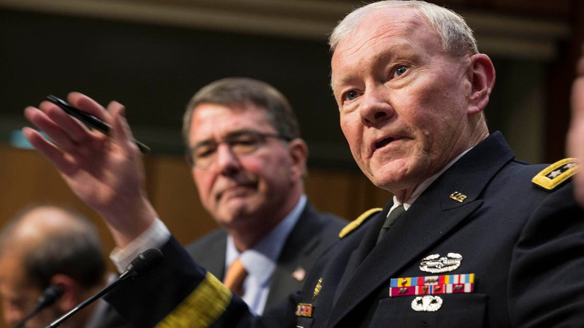 U.S. Defense Secretary Ash Carter (L) listens as Chairman of the Joint Chiefs of Staff Army General Martin Dempsey testifies before a Senate Armed Services Committee in Washington March 3, 2015. (Reuters)