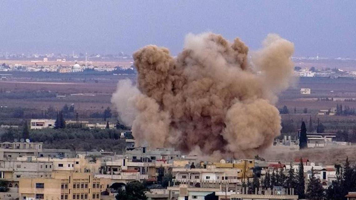 براميل متفجرة على مدينة الحارة بريف درعا