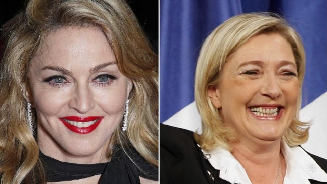 French far-right leader Marine Le Pen on Tuesday accepted an offer to sit down with Madonna over a drink and chat about their points of view. (Photo courtesy: Twitter)