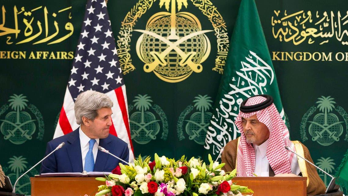 U.S. Secretary of State John Kerry (L) attends a news conference with Saudi Arabia's Foreign Minister Saud bin Faisal bin Abdulaziz Al Saud in Riyadh March 5, 2015. (Reuters)
