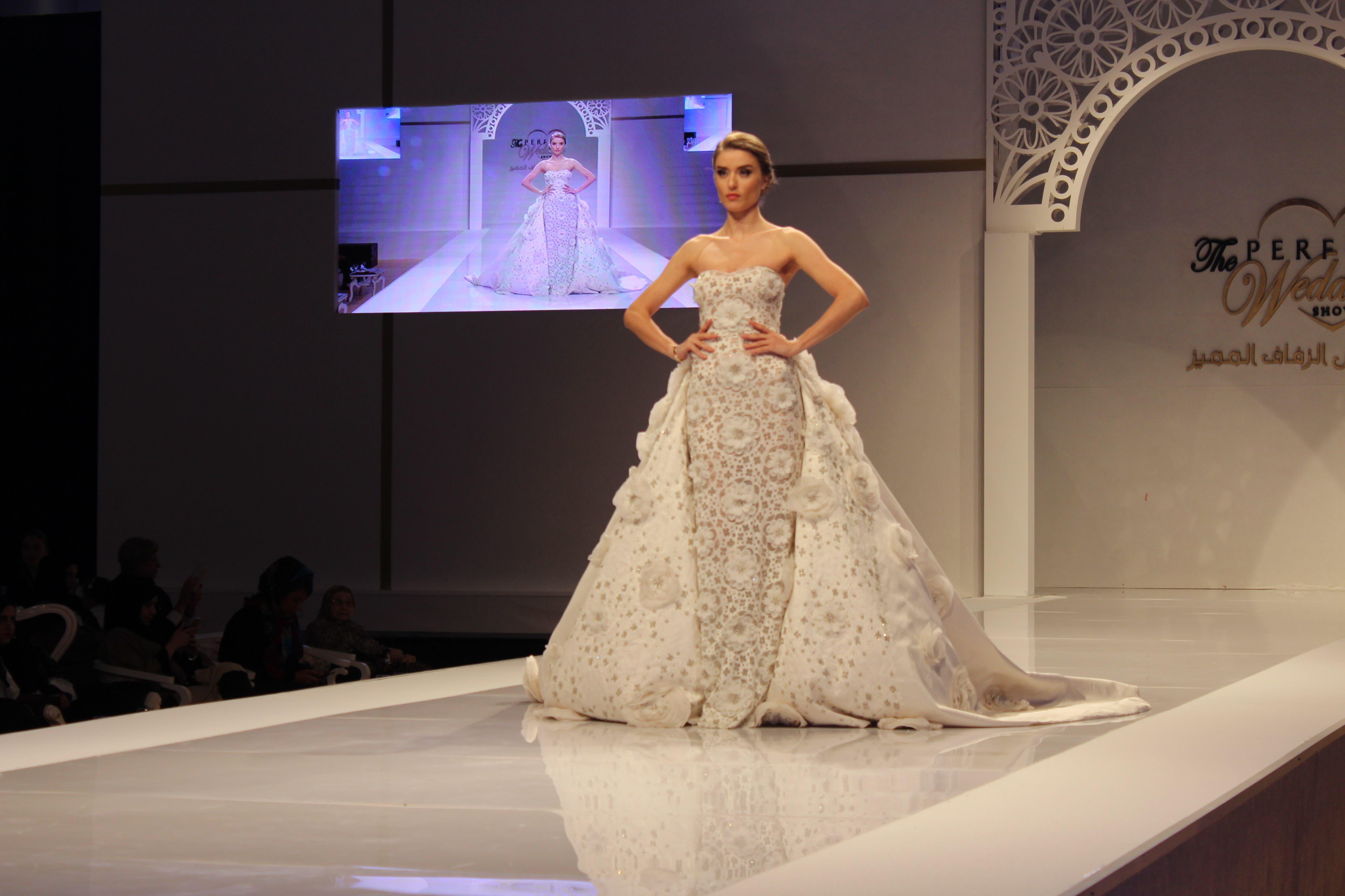 A display of Zakhem's bridal gowns at the Perfect Wedding Show. (Shounaz Meky/Al Arabiya News)