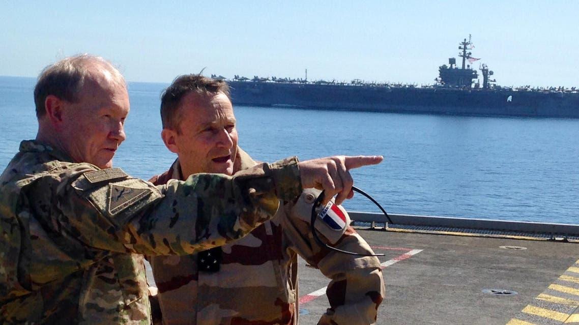 U.S. General Gen. Martin Dempsey on board French carrier Charles de Gaulle AP