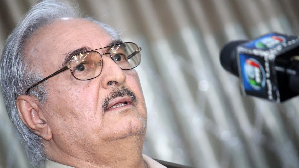 file picture taken on May 17, 2014 shows then retired Libyan Army general Khalifa Haftar speaking during a press conference in the town of Abyar, 70 km southwest of Benghazi.  (AFP)