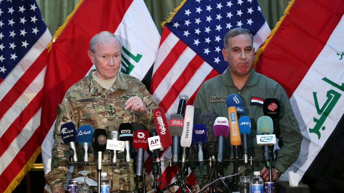 U.S. General Martic Dempsy and Iraqi Defense Minister Khaled al-Obeidi AP