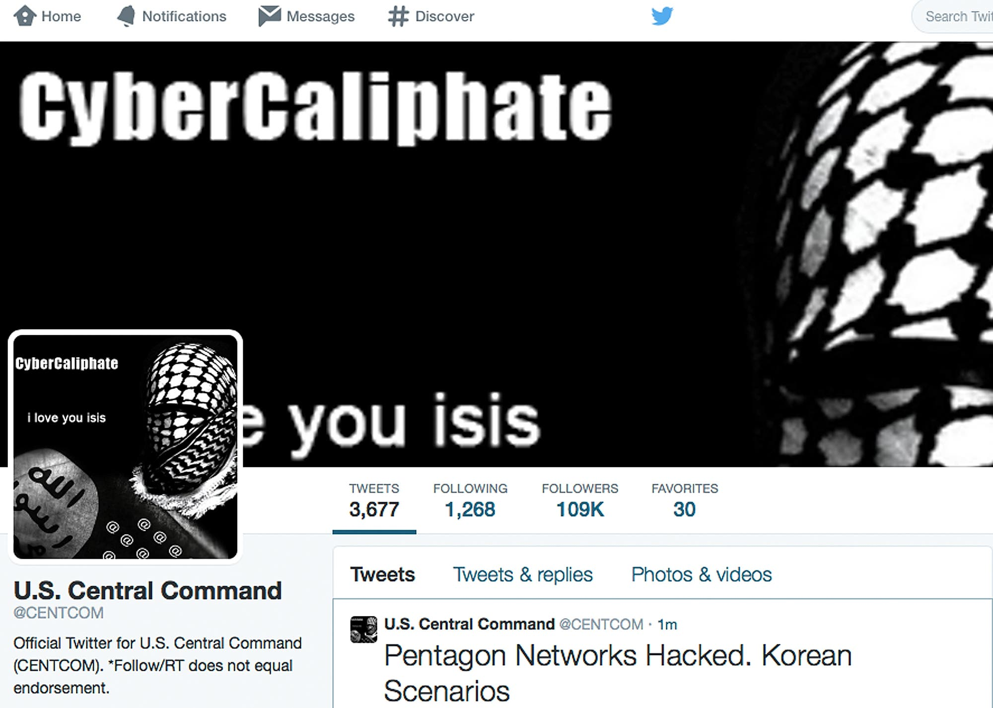 ISIS hacks central command Twitter account AP