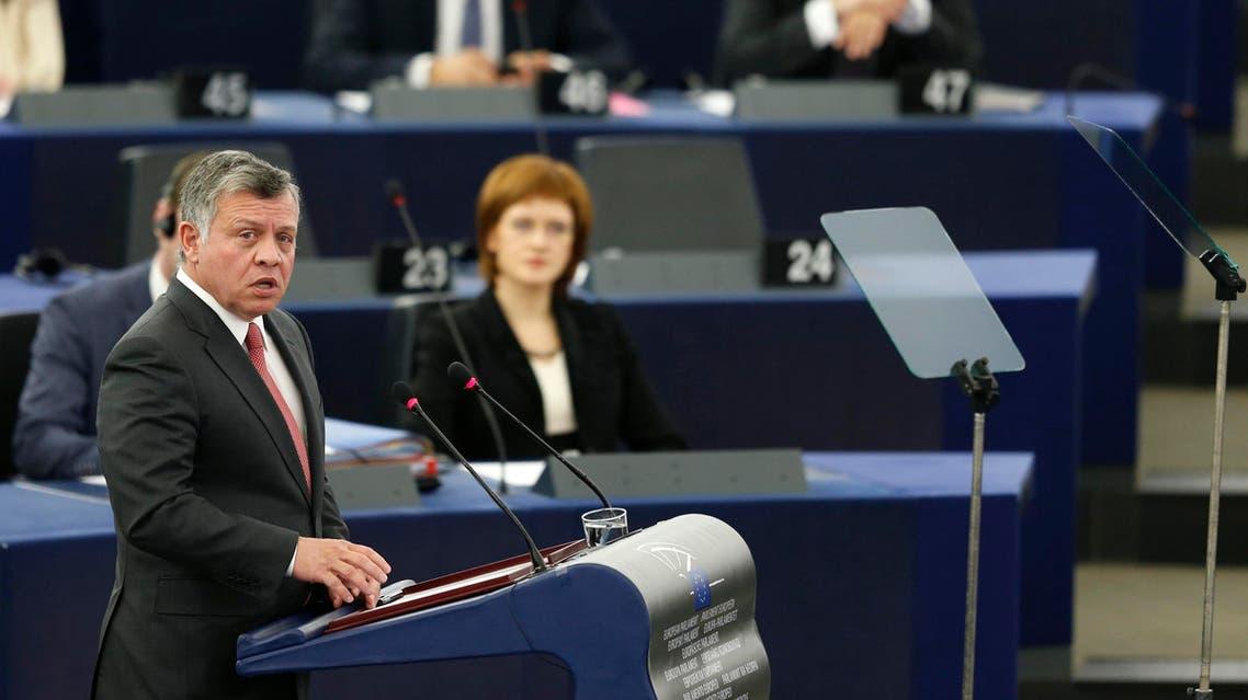 Jordan's King Abdullah addresses the European Parliament during a debate in Strasbourg, March 10, 2015. (Reuters)