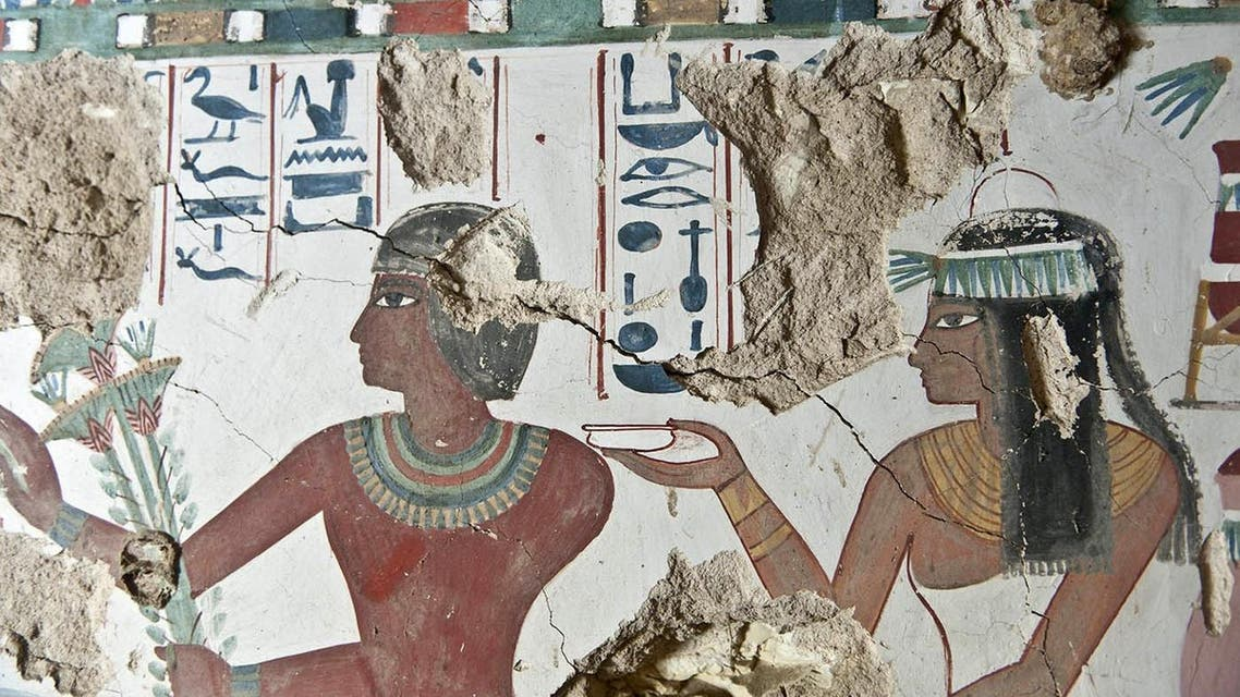 A fresco inside a tomb belonging to Sa-Mut that was discovered by the American Research Center's (ARCE) mission led with the Egyptian Ministry of Antiquities during the excavation works. (AFP)