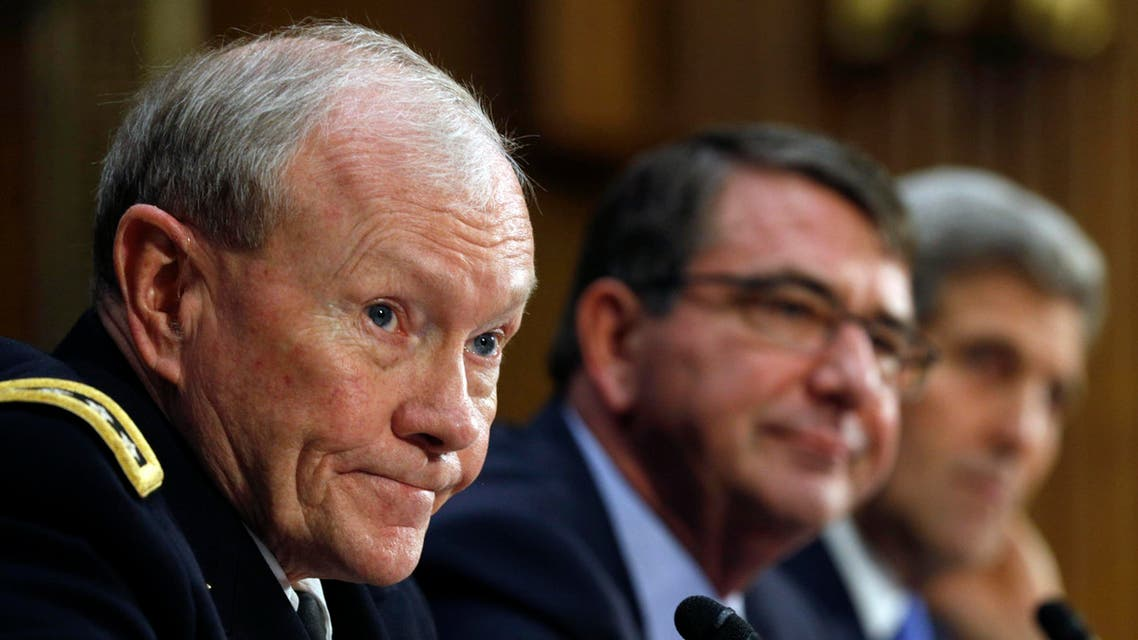 """Chairman of the Joint Chiefs of Staff Army Gen. Martin Dempsey (L), U.S. Defense Secretary Ash Carter (C) and Secretary of State John Kerry testify at a Senate Foreign Relations Committee hearing on """"The President's Request for Authorization to Use Force Against ISIS: Military and Diplomatic Efforts"""" on Capitol Hill in Washington March 11, 2015. (Reuters)"""