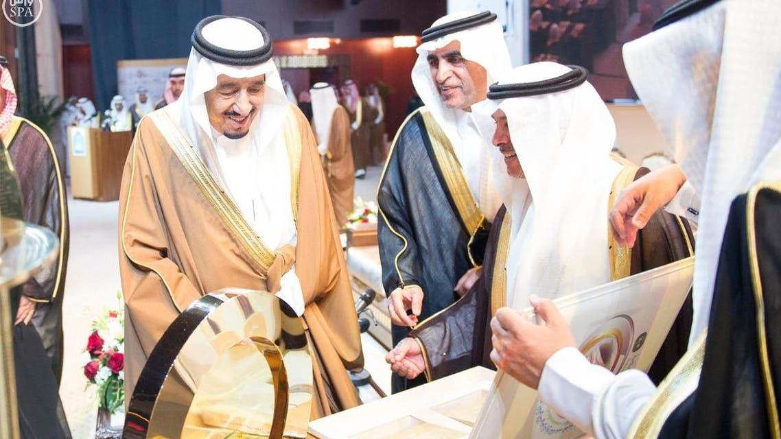 King Salman bin Abdulaziz oversees the opening ceremony of 2nd World Conference on King Abdulaziz history (SPA).