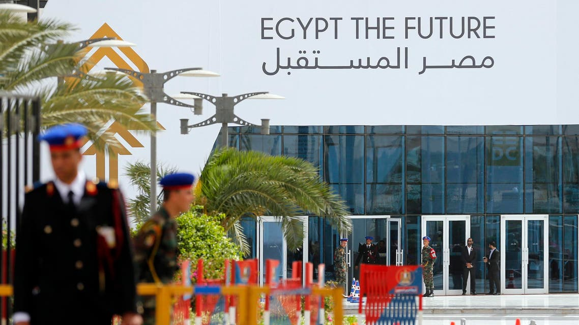 Members of Egypt's Republican Guard stand in front of the Conference Center, one day before the Economic Development Conference (EEDC), in Sharm el-Sheikh in the South Sinai governorate, about 550 km (342 miles) south of Cairo, March 12, 2015. (Reuters)