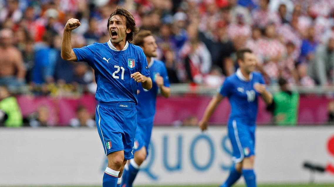 Italy's Andrea Pirlo celebrates after he scored during the Euro 2012 soccer championship Group C match between Italy and Croatia in Poznan, Poland, Thursday, June 14, 2012. (AP)