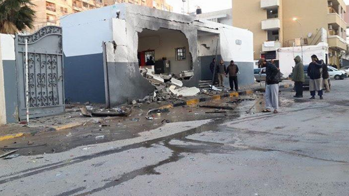 A picture distributed on social media purportedly shows the site of the blast at a Tripoli police station. (Photo courtesy of Twitter)