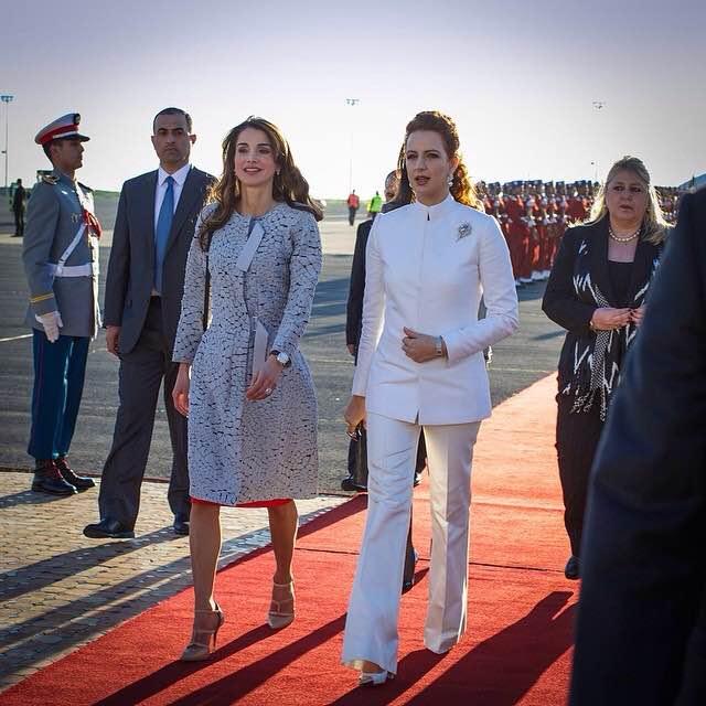Queen Jordan walks with Princess Lalla Salma or Morocco in Casablanca. (Al Arabiya.net)