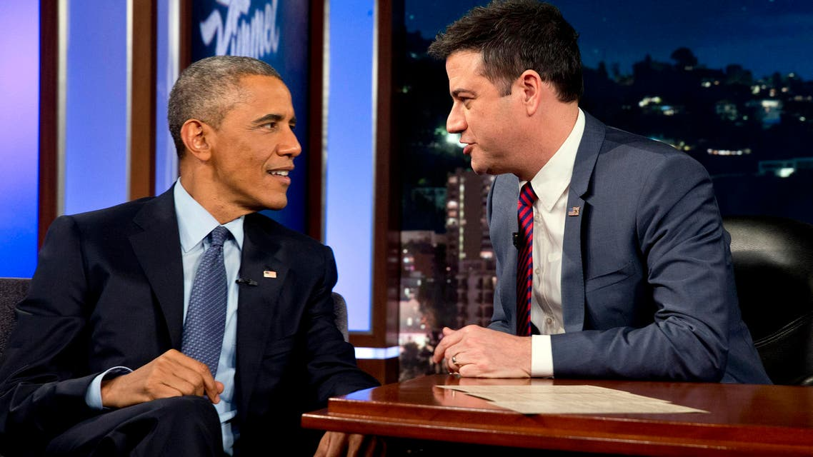 President Barack Obama talks with Jimmy Kimmel during a break in taping on Jimmy Kimmel Live, in Los Angeles Thursday, March 12, 2015. AP