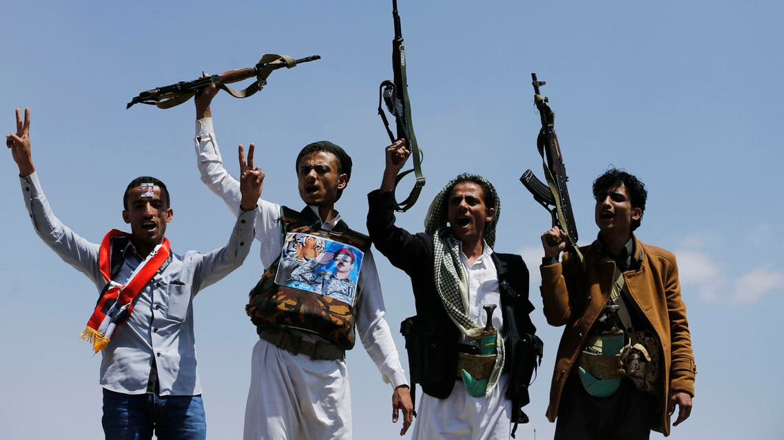 Supporters of Ahmed Ali Abdullah Saleh, the son of Yemen's former President Ali Abdullah Saleh, raise their rifles as they demonstrate in Sanaa, March 10, 2015.  (Reuters)
