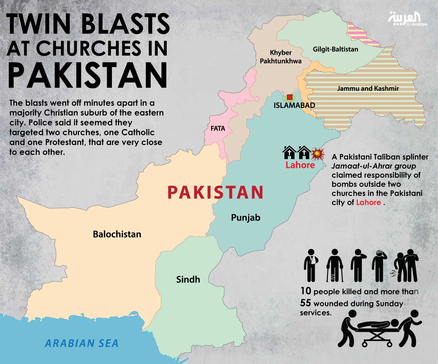 Infographic: Twin blasts at churches in Pakistan