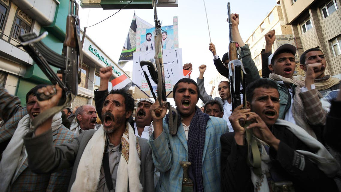Houthi followers shout slogans during a demonstration to show support to the movement, and rejecting foreign interference in Yemen's internal affairs, in Sanaa March 13, 2015. REUTERS