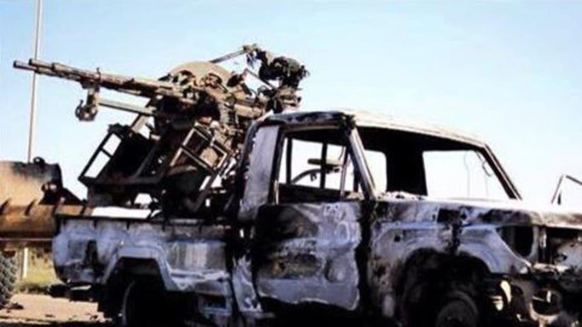 سيارات محترقة لفجر ليبيا