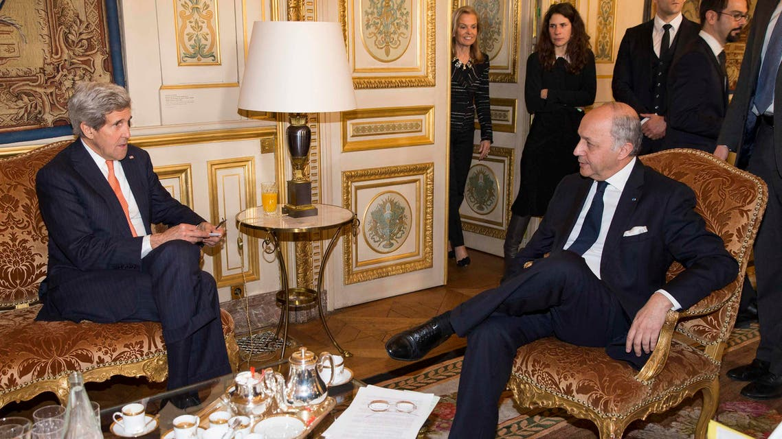 U.S. Secretary of State John Kerry (L) meets France's Foreign Minister Laurent Fabius in Paris March 7, 2015. (Reuters)