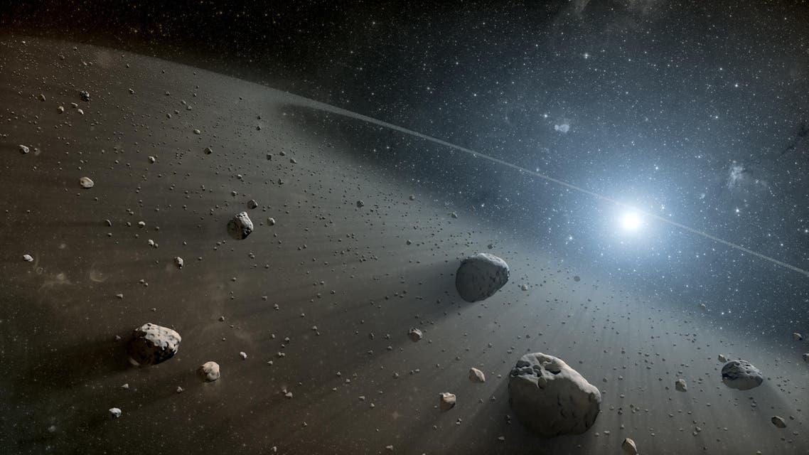 This artist's concept illustrates an asteroid belt around the bright star Vega. (Courtesy: NASA/JPL-Caltech)