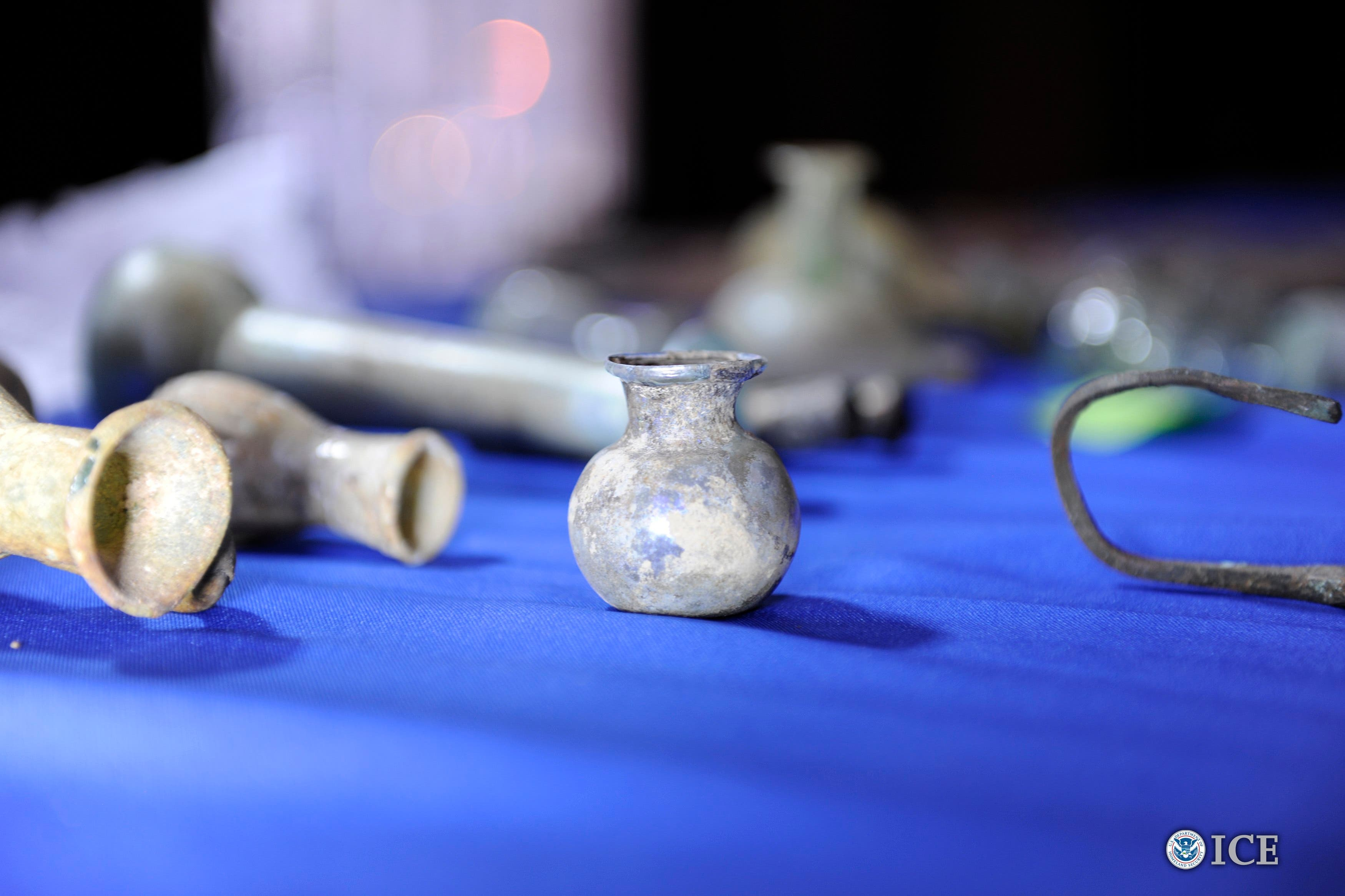 Some of the artifacts from more than 60 Iraqi cultural treasures illegally smuggled into the United States that were returned to Iraq. (Reuters).