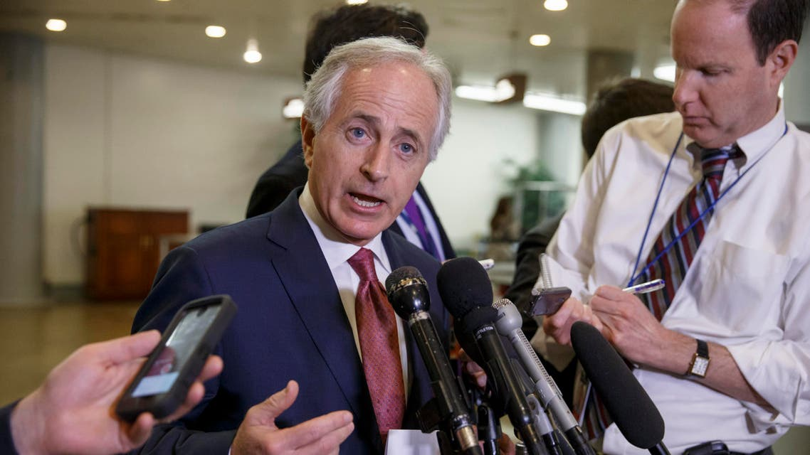 In this Feb. 10, 2015 file photo, Senate Foreign Relations Committee Chairman Sen. Bob Corker, R-Tenn. speaks to reporters on Capitol Hill in Washington. AP