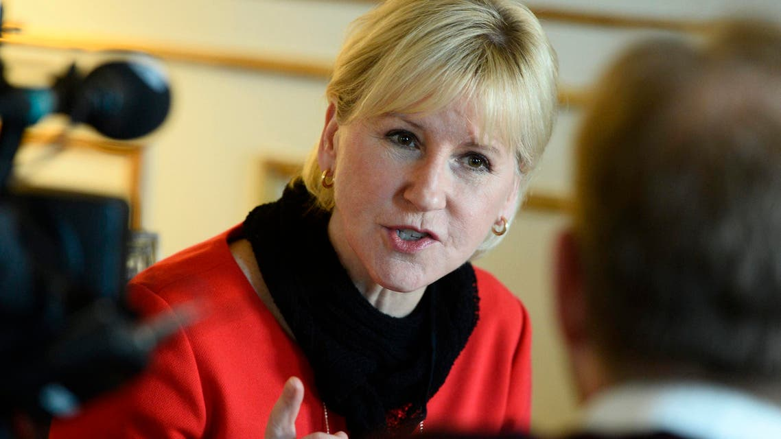 Swedish Foreign Minister Margot Wallstrom gestures during an interview with Sweden's TT News Agency at the Ministry of Foreign Affairs in central Stockholm, March 11, 2015. (Reuters)