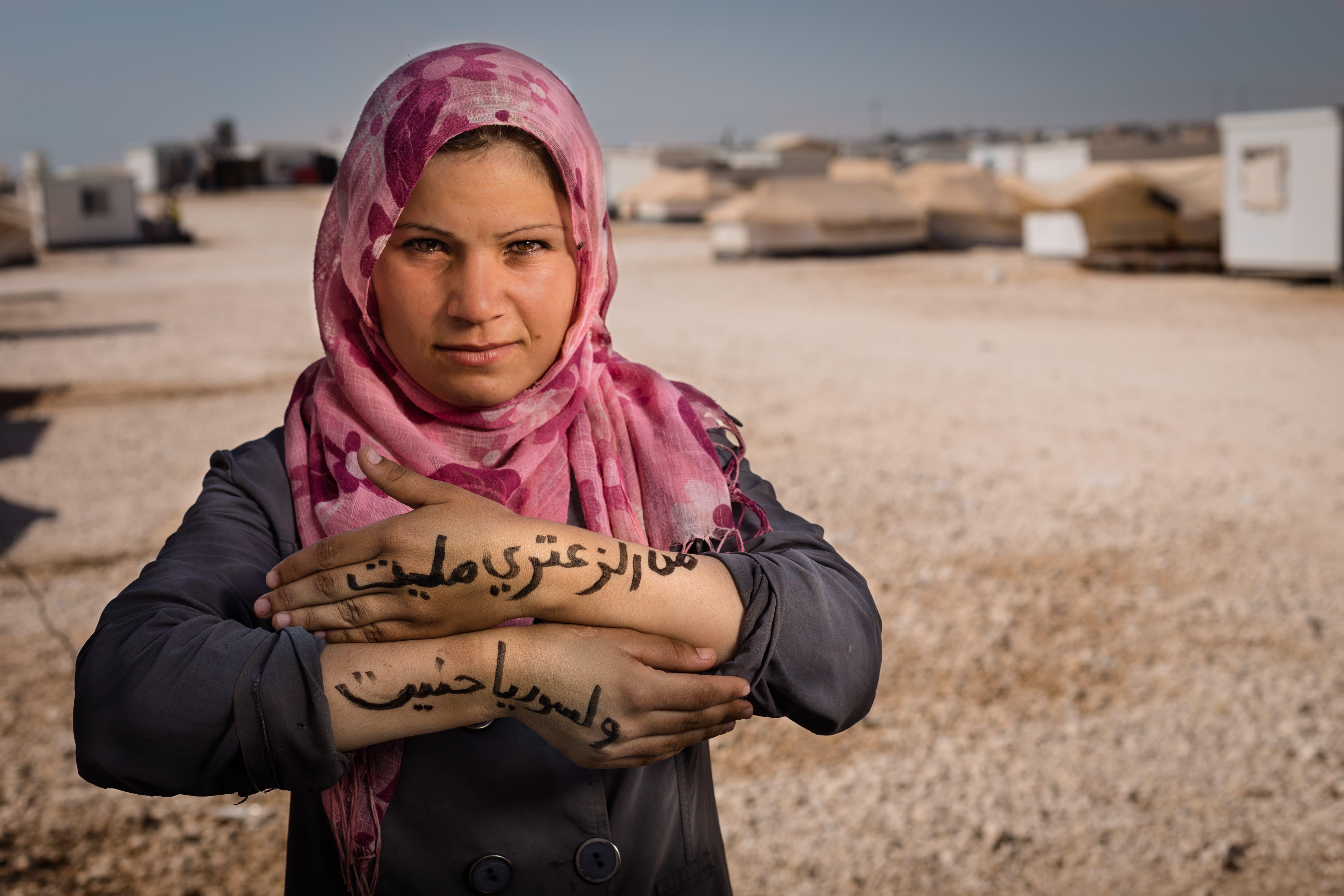 لاجئة من سوريا في مخيم الزعتري في الأردن