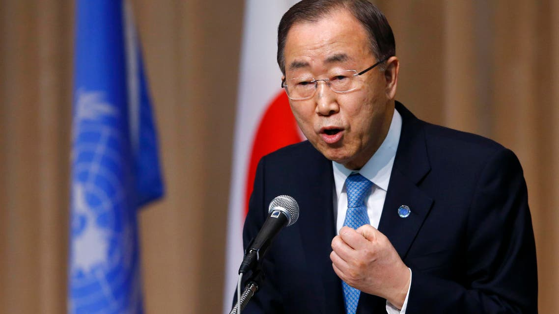 U.N. Secretary General Ban Ki-moon delivers a speech during a symposium of the 70th anniversary of the United Nations at the UN University in Tokyo, Monday, March 16, 2015. (AP)