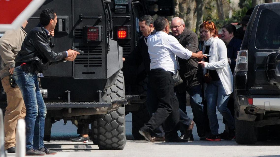 Tourists are evacuated from the site of an attack carried out by two gunmen at Tunis' famed Bardo Museum on March 18, 2015. (AP)