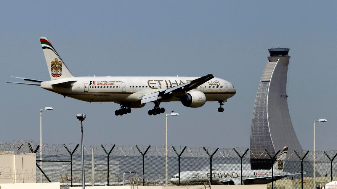an Etihad Airways plane prepares to land at the Abu Dhabi airport in the United Arab Emirates. AP