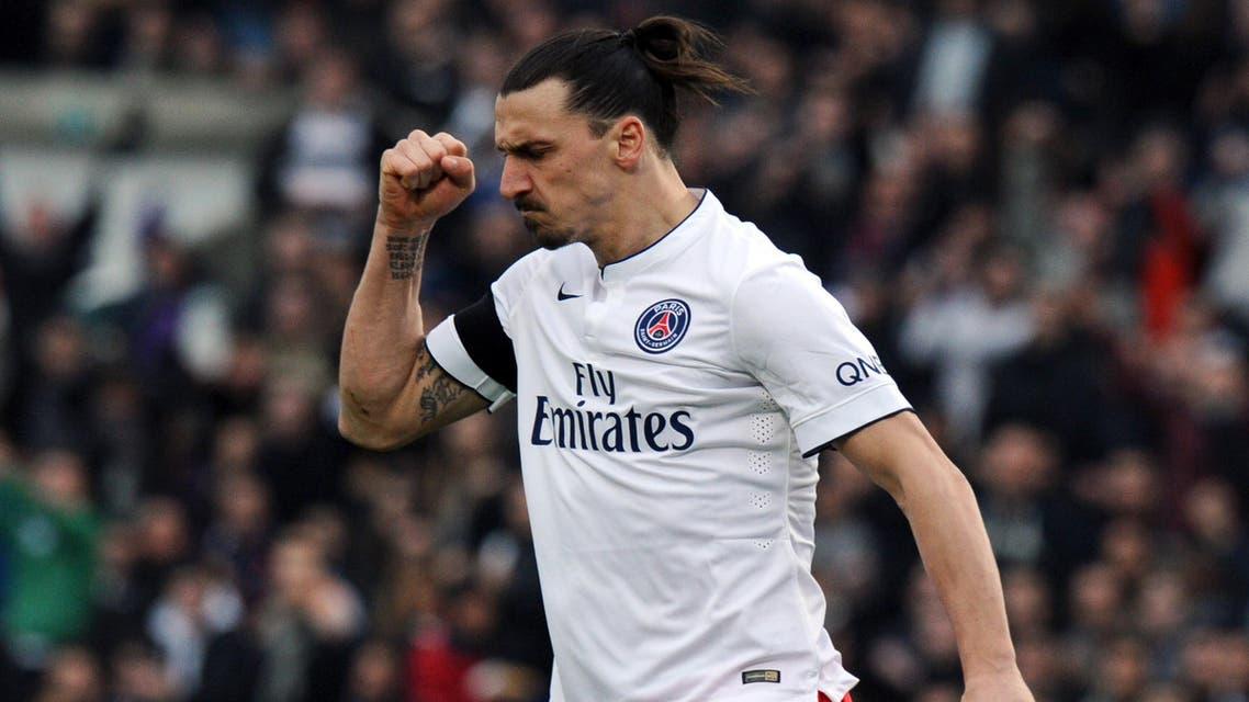 Paris Saint-Germain's Swedish forward Zlatan Ibrahimovic celebrates after scoring a goal during the French L1 football match between Bordeaux and Paris-Saint-Germain on March 15, 2015 AFP