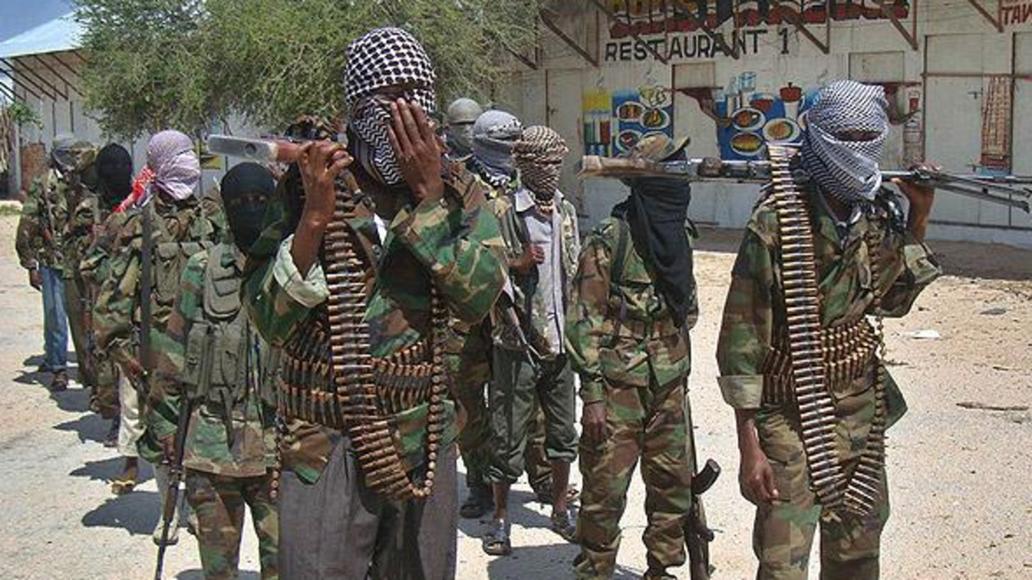 Shabaab fighters seen standing in formation in Somalia (Photo courtesy of Twitter)