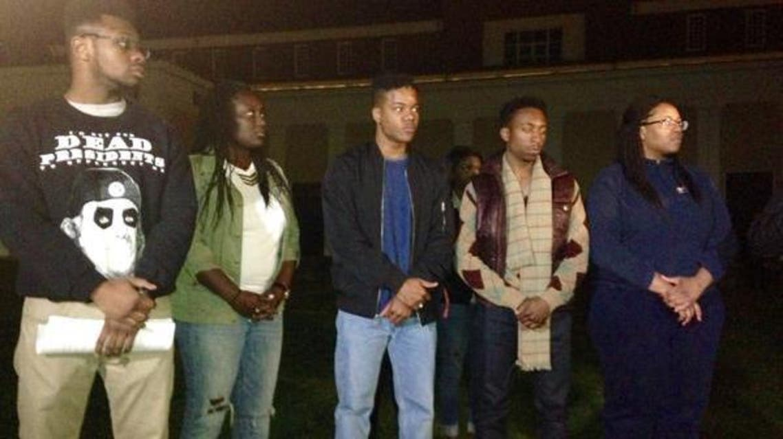 """At Wednesday night's protest rally Martese Johnson (C) spoke briefly and asked protesters """"to please respect everyone here."""" (Photo courtesy: Twitter)"""