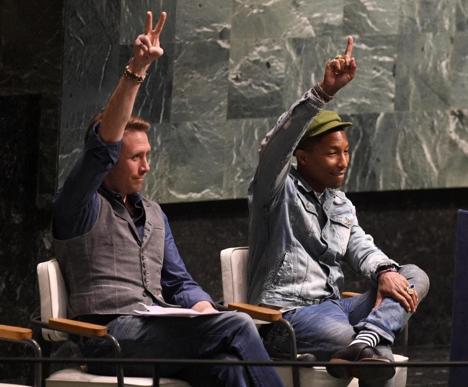 """Pop star Pharrell Williams -- best known for his viral hit """"Happy"""" -- addressed the U.N. General Assembly on the """"International Day of Happiness"""""""