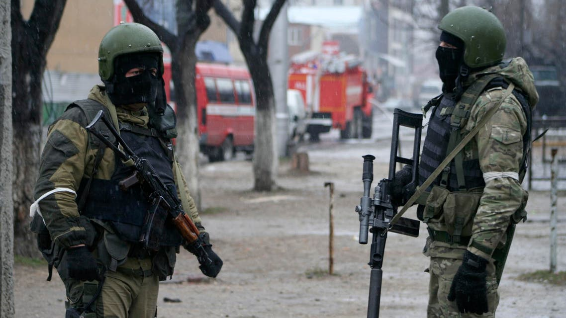 Russian special force soldiers during an anti-terrorist operation in Makhachkala, the capital of the Southern Russian republic of Dagestan on Monday, Jan. 20, 2014. (AP)