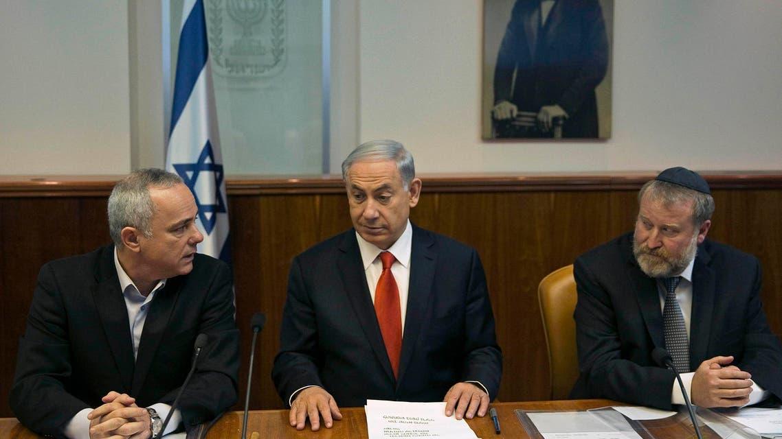 Yuval Steinitz (left) Netanyahu (Center) Avichai Mandelblit (Right) Reuters