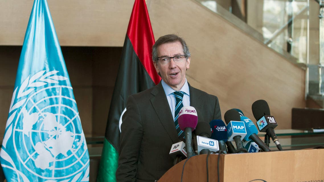 U.N. Special Representative and Head of the United Nations Support Mission in Libya, Bernardino Leon holds a news conference on Libya's reconciliation process at the es-Sahirat region of Rabat, March 20, 2015. (Reuters)