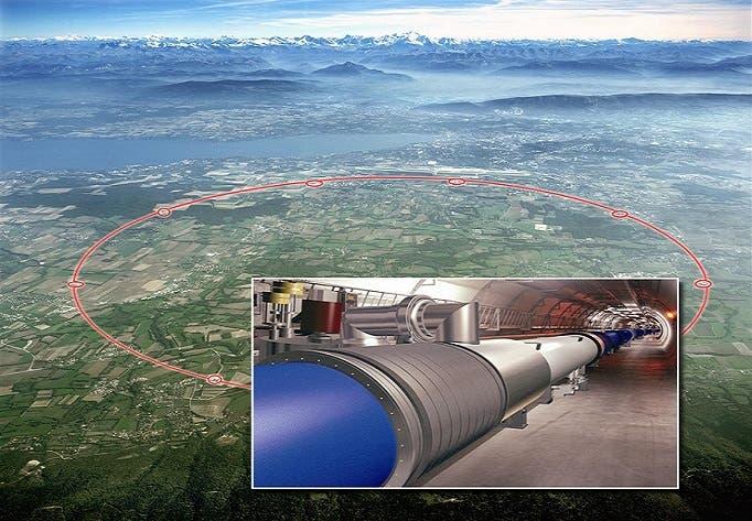 مصادم الهيدرونات والذرات الكبير هو نفق دائري بطول 27 كيلومترا تحت جبال الألب بين سويسرا وفرنسا
