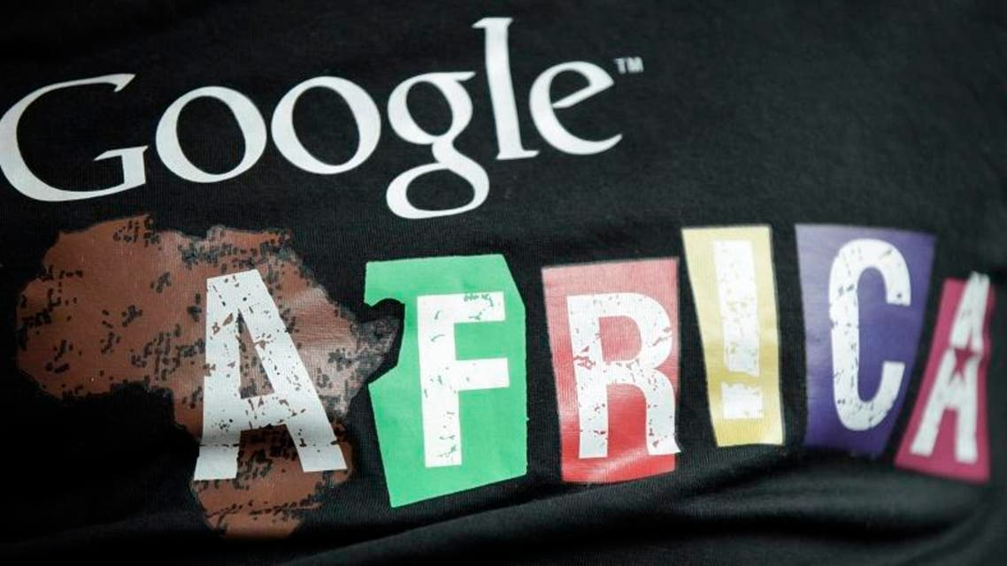 In this photo taken, Thursday, Sept.13, 2012. A staff member wears a T-shirt bearing the name of Google Africa, in Lagos, Nigeria. (Reuters)
