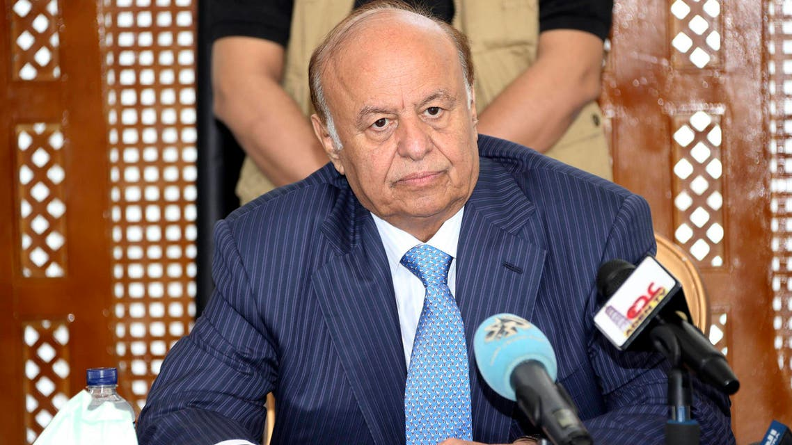Yemen's President Abd-Rabbu Mansour Hadi looks on during a meeting with tribal leaders in the southern port city of Aden March 3, 2015. (AFP)