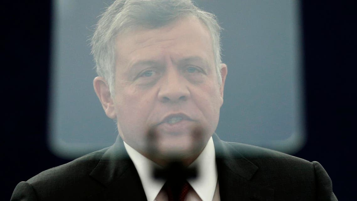 Jordan's King Abdullah is seen through the screen of a video prompter as he addresses the European Parliament during a debate in Strasbourg, March 10, 2015. (Reuters)