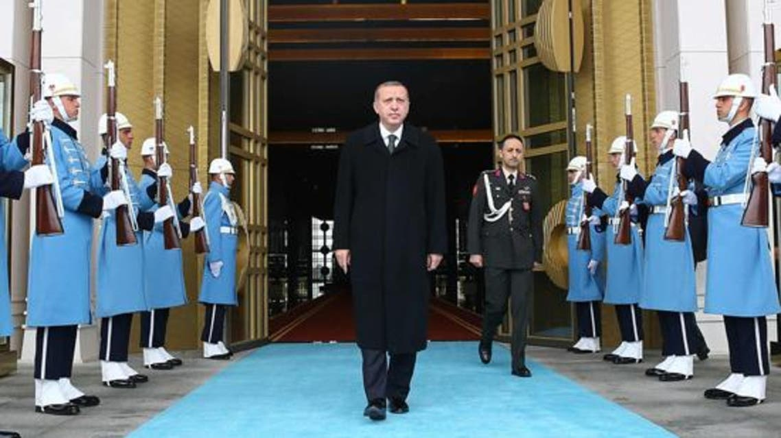 Turkey's President Tayyip Erdogan (C) is pictured during a welcoming ceremony at the Presidential Palace in Ankara March 12, 2015. (Reuters)