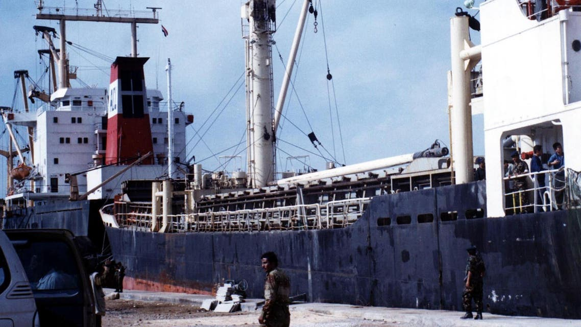 Yemeni soldiers stand guard next to the North Korean ship So San at al-Mukalla port, 550 kilometers (345 miles) southeast of the Yemeni capital, Sanaa. (File: AP)