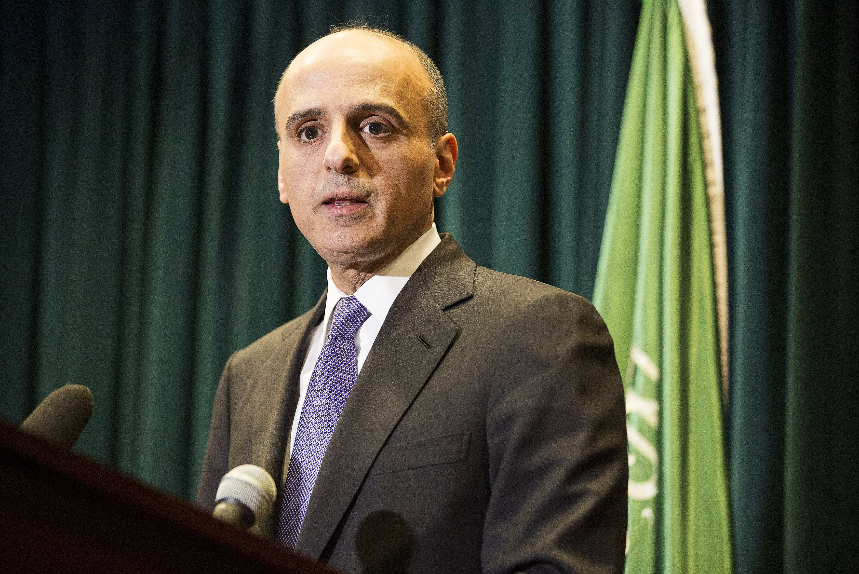 Saudi Ambassador to the United States Adel Al-Jubeir speaks about Saudi Arabia carrying out air strikes in Yemen against the Houthi militias who have seized control of the nation, during a news conference in Washington March 25, 2015. (Reuters)