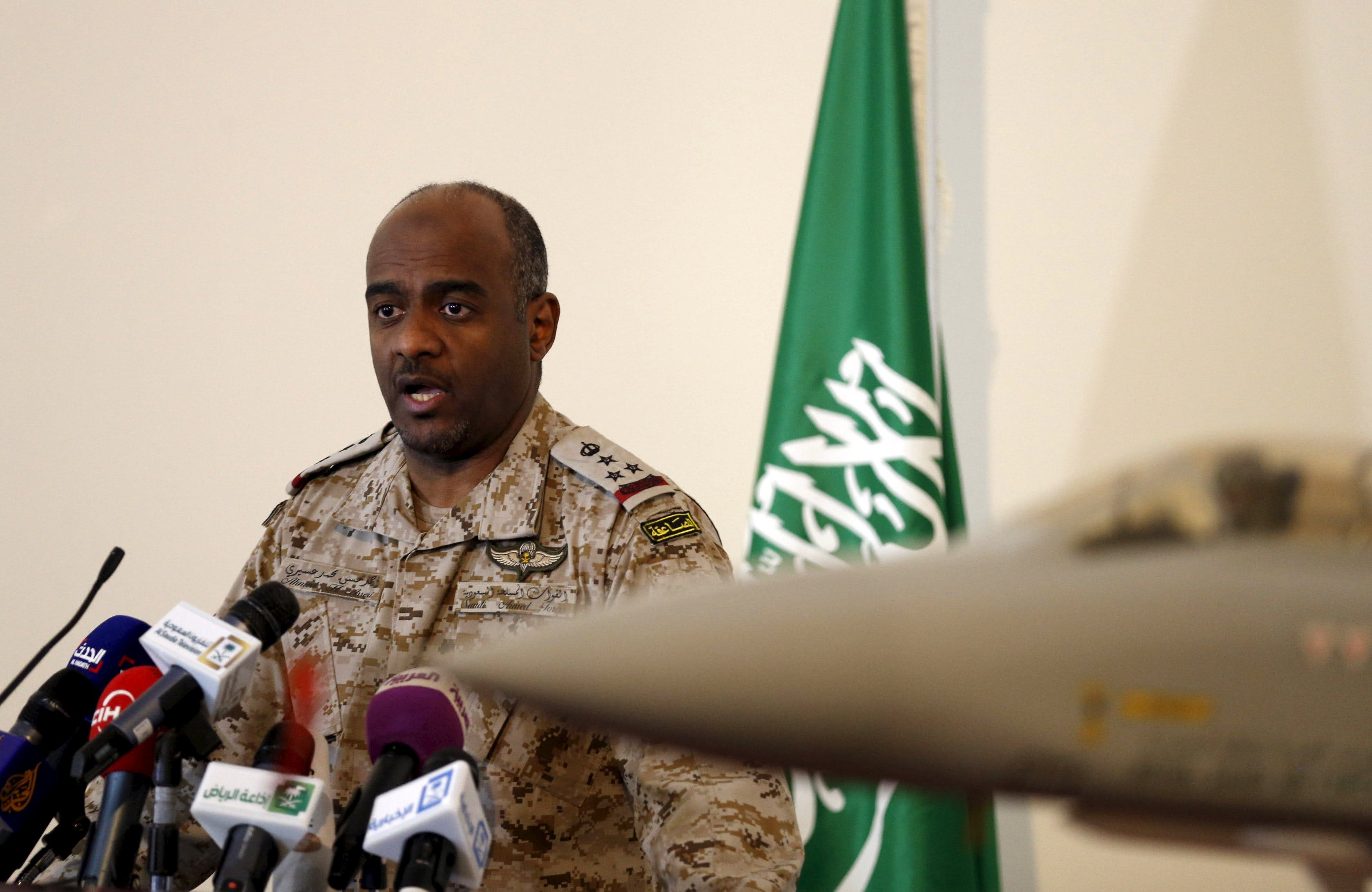 The official spokesman for the Saudi Ministry of Defense Gen. Ahmed Hassan al-Asiri speaks during news conference in Riyadh March 26, 2015. (Reuters)