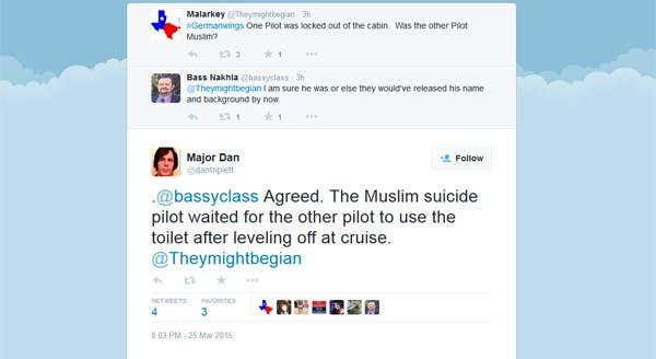 صورة عن تغريدات 3 تويتريين يروجون بأن الطيار الذي أسقط الطائرة هو مسلم