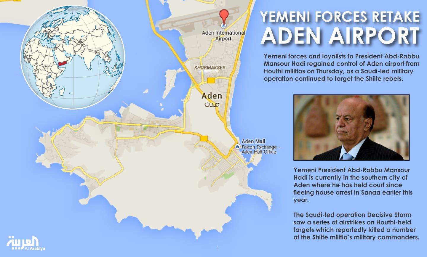 Infographic: Yemeni forces retake Aden airport