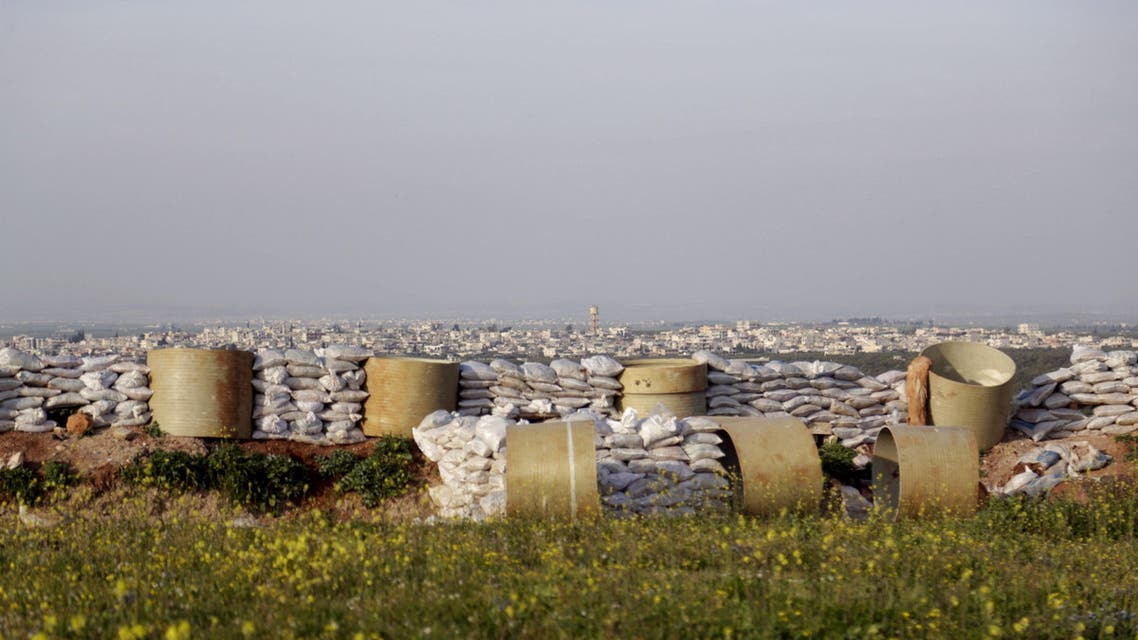 General view of sandbags in front of the northwestern city of Idlib March 26, 2015. (Reuters)