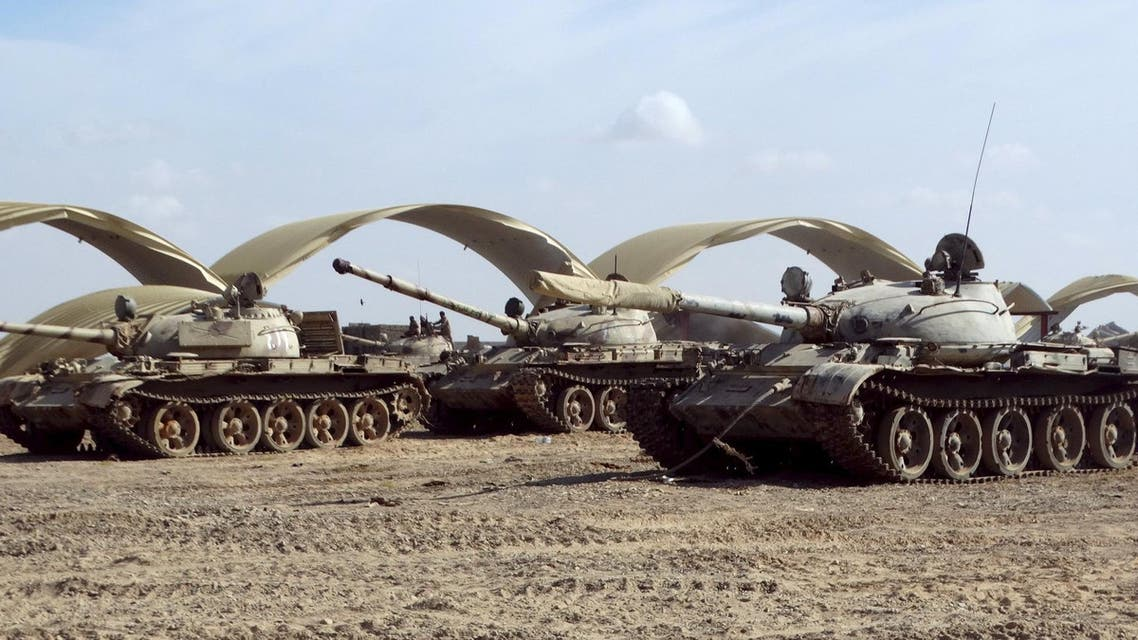 Tanks seized recently by Southern People's Resistance militants loyal to Yemen's President Abd-Rabbu Mansour Hadi are seen at the al-Anad air base in the country's southern province of Lahej March 24, 2015. (Reuters)